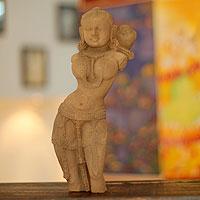 Sandstone sculpture, 'Regal Apsara' - Sandstone sculpture