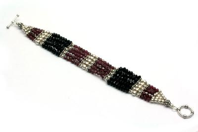 Garnet and onyx wristband bracelet