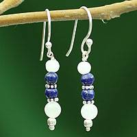 Rainbow moonstone and lapis lazuli dangle earrings, Gujarat Skies