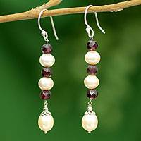 Pearl and garnet dangle earrings, 'Graceful Rose' - Pearl and garnet dangle earrings