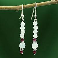 Moonstone and garnet dangle earrings, 'Rajasthan Dancer' - Moonstone and garnet dangle earrings