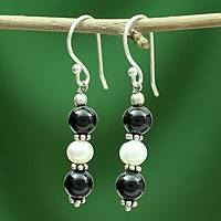 Onyx and pearl dangle earrings, 'Midnight Dreams' - Onyx and pearl dangle earrings