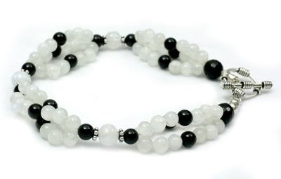 Rainbow Moonstone and Onyx beaded bracelet