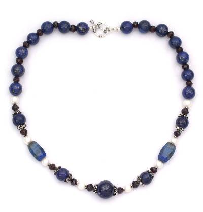 Lapis lazuli and pearl strand necklace