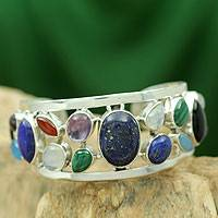 Lapis lazuli and pearl cuff bracelet, 'Colors of Life' - Fairtrade Gemstones of India Banded in a Silver Bracelet