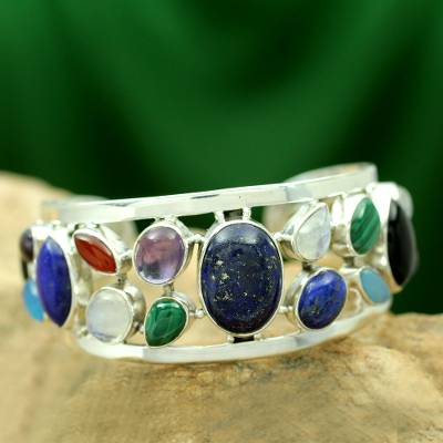 Lapis lazuli and pearl cuff bracelet, Colors of Life