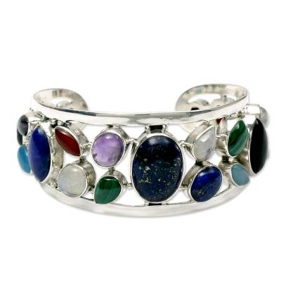 Sterling Silver Cuff Bracelet Multigemstone Jewelry