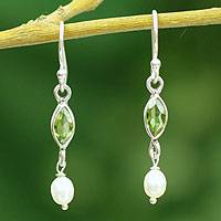 Pearl and peridot dangle earrings, 'Spirit of Life' - Hand Made Pearl and Peridot Dangle Earrings