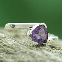 Amethyst solitaire ring, 'Scintillating Jaipur' - Hand Made Modern Sterling Silver Solitaire Amethyst Ring