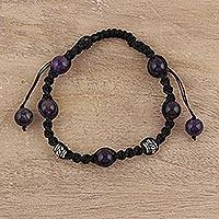 Amethyst Shambhala-style bracelet, 'Violet Peace' - Unique Handcrafted Shamballa Indian Bracelet