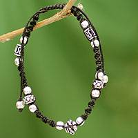 Sterling silver Shambhala-style bracelet, 'Jaipur Tranquility'