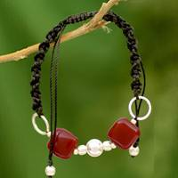 Onyx Shambhala-style bracelet, 'All Are One'