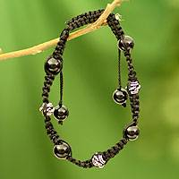 Onyx Shambhala-style bracelet, 'Prayer for Peace'