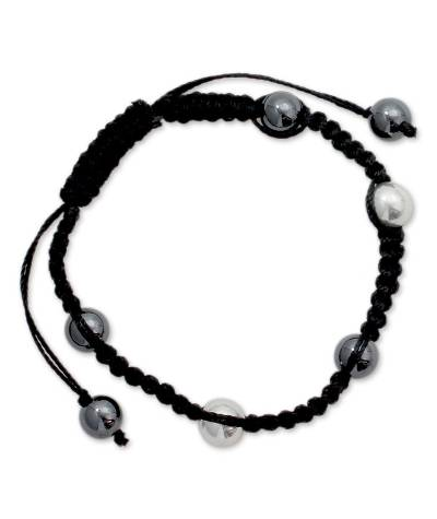 Shamballa Hematite Bracelet with Sterling Silver Beads