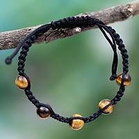 Tiger's eye Shambhala-style bracelet, 'Oneness' - Tiger Eye Shambhala Bracelet with Black Cord Handmade India