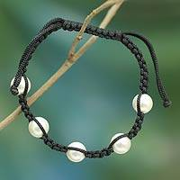 Cultured Akoya pearl Shambhala-style bracelet, 'Purity and Oneness'