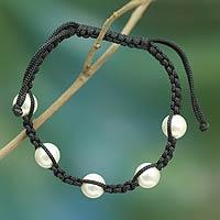 Cultured Akoya pearl Shambhala-style bracelet,