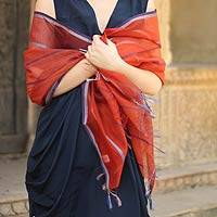 Cotton and silk shawl, 'Maheshwari Coral' - Hand Made Wrap Cotton Silk Blend Shawl