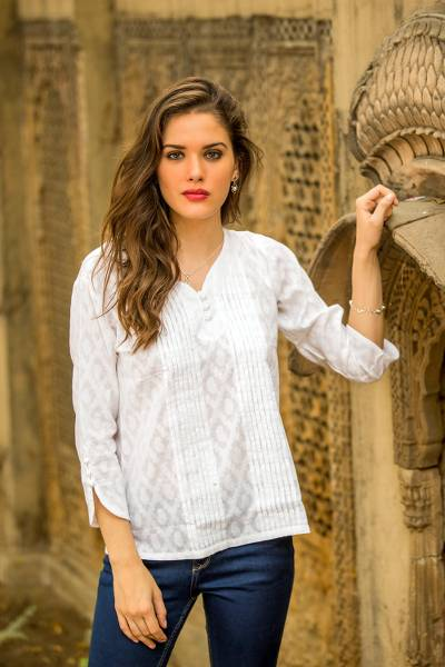 Cotton blouse, White Clouds