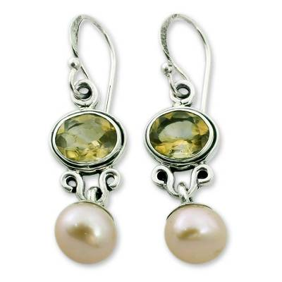 Pearl and Citrine Earrings in Sterling Silver Jewelry