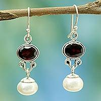 Pearl and garnet earrings, 'Scarlet Light' - Akoya Pearls and Garnet Earrings from India Jewelry
