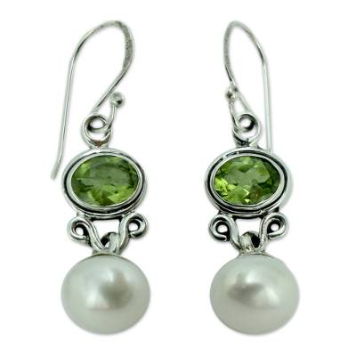 Sterling Silver Jewelry Pearl and Peridot Earrings