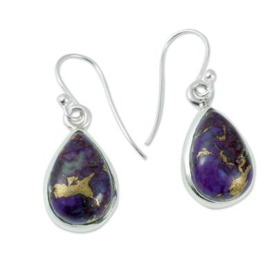 Purple Composite Turquoise on Sterling Silver Earrings