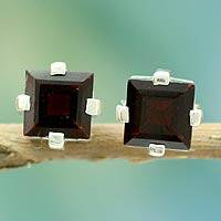 Garnet stud earrings, 'Crimson Charm' - Garnet Studs Artisan Crafted Sterling Silver Earrings