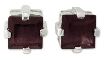 Garnet Studs Artisan Crafted Sterling Silver Earrings