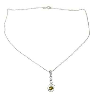 Sterling Silver Necklace with Citrine Pendant