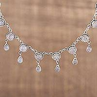 Moonstone waterfall necklace, 'Shimmer' - Moonstone and Sterling Silver Necklace Indian Style