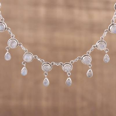 Rainbow moonstone waterfall necklace, 'Shimmer' - Rainbow Moonstone and Sterling Silver Necklace Indian Style