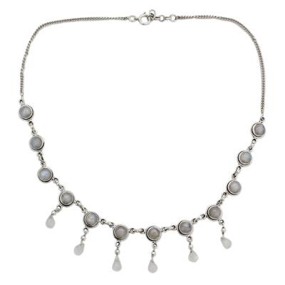 Moonstone and Sterling Silver Necklace Indian Style