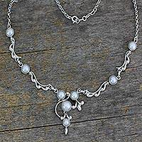 Pearl Y necklace, 'Cloud Song' - Pearl and Sterling Silver Necklace Bridal Jewelry