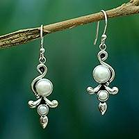 Pearl dangle earrings, 'Cloud Song' - Pearl Earrings from India Jewelry Collection