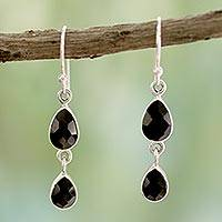 Onyx dangle earrings, 'Radha's Radiance' - Indian Sterling Silver and Onyx Earrings