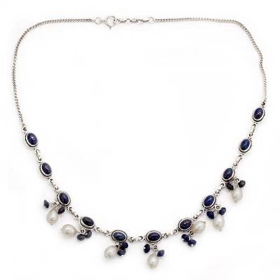 Fair Trade Pearl and Lapis Lazuli Necklace