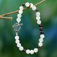 Rainbow moonstone and garnet beaded bracelet, 'Rajasthan Dancer' - Rainbow Moonstone and garnet beaded bracelet