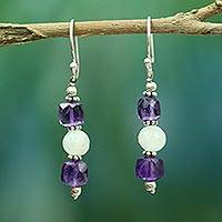 Amethyst and rainbow moonstone dangle earrings,