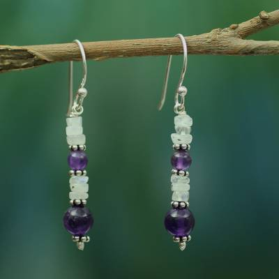 Amethyst and rainbow moonstone dangle earrings, 'Morning Clouds' - Amethyst and Rainbow Moonstone Dangle Earrings