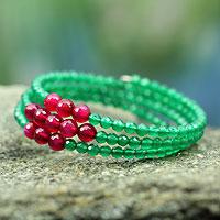 Chalcedony wrap bracelet,
