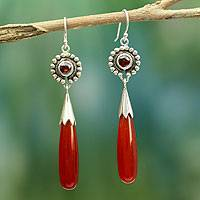 Agate and garnet dangle earrings, 'Jaipuri Kiss' - Hand Made Sterling Silver and Agate Dangle Earrings