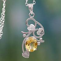 Citrine flower necklace,