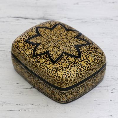Paper mache box, 'Golden Wishes' - Floral Wood Papier Mache Decorative Box
