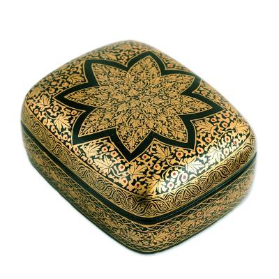 Floral Wood Papier Mache Decorative Box