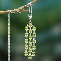 Peridot pendant necklace, 'Verdant River' - Silver and Peridot Pendant Necklace