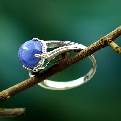 large silver rings ladies jackets - Sterling Silver Single Stone Ring with Tanzanite from India