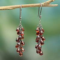 Garnet cluster earrings, 'Rajasthan Red' - Garnet Cluster Earrings from India Artisan Jewelry
