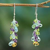 Amethyst and blue topaz cluster earrings, 'Virtuous Akkadevi' - Handmade Waterfall Multigem Earrings
