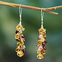 Citrine and garnet cluster earrings, 'Virtuous Akkadevi' - Indian Multigem Dangle Earrings